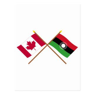 Canadá y banderas cruzadas Malawi Postal