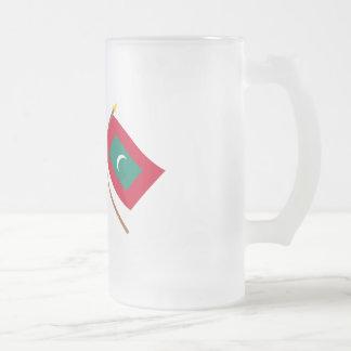 Canadá y banderas cruzadas Maldivas Taza De Cristal