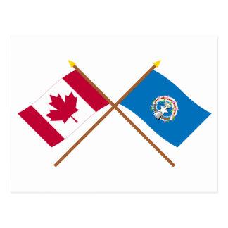 Canadá y banderas cruzadas Mariana septentrionales Postal