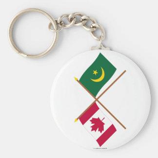 Canadá y banderas cruzadas Mauritania Llavero