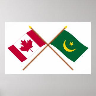 Canadá y banderas cruzadas Mauritania Impresiones