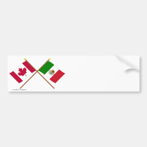 Canadá y banderas cruzadas México Pegatina De Parachoque
