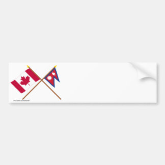 Canadá y banderas cruzadas Nepal Pegatina De Parachoque
