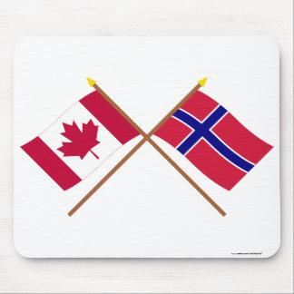 Canadá y banderas cruzadas Noruega Tapete De Raton