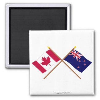 Canadá y banderas cruzadas Nueva Zelanda Imán