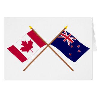 Canadá y banderas cruzadas Nueva Zelanda Tarjeta De Felicitación