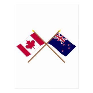 Canadá y banderas cruzadas Nueva Zelanda Postal