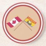 Canadá y banderas cruzadas Nuevo Brunswick Posavasos Diseño