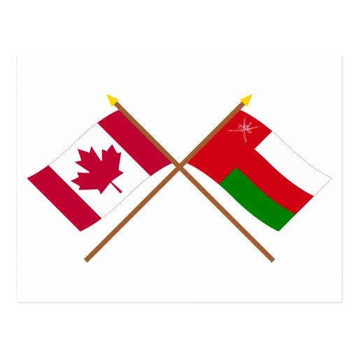 Canadá y banderas cruzadas Omán Tarjeta Postal