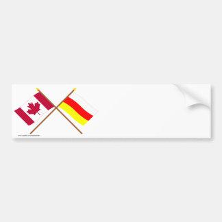 Canadá y banderas cruzadas Osetia del Sur Pegatina Para Auto