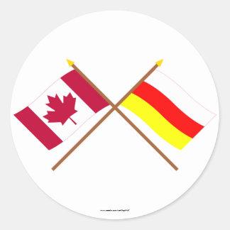 Canadá y banderas cruzadas Osetia del Sur Pegatina Redonda
