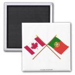 Canadá y banderas cruzadas Portugal Iman De Frigorífico