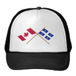 Canadá y banderas cruzadas Quebec Gorros