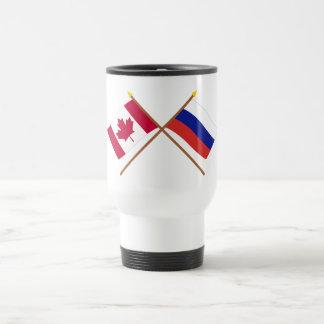 Canadá y banderas cruzadas Rusia Taza De Viaje