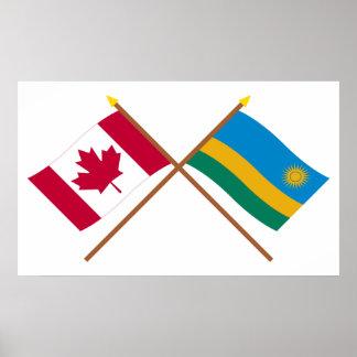 Canadá y banderas cruzadas Rwanda Impresiones