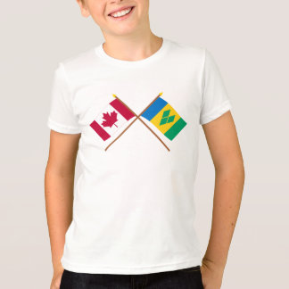Canadá y banderas cruzadas San Vicente Remera