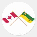 Canadá y banderas cruzadas Saskatchewan Etiqueta