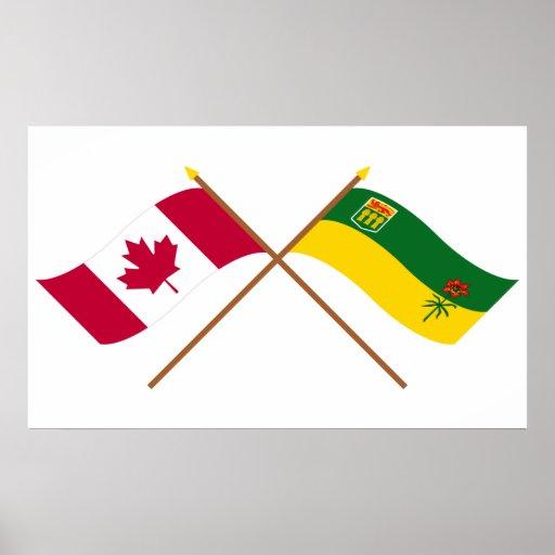 Canadá y banderas cruzadas Saskatchewan Posters
