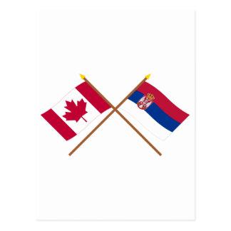 Canadá y banderas cruzadas Serbia Postales