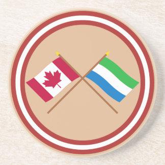 Canadá y banderas cruzadas Sierra Leone Posavasos Para Bebidas