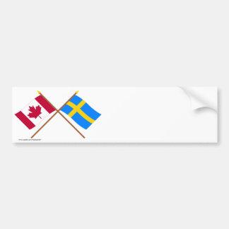 Canadá y banderas cruzadas Suecia Etiqueta De Parachoque