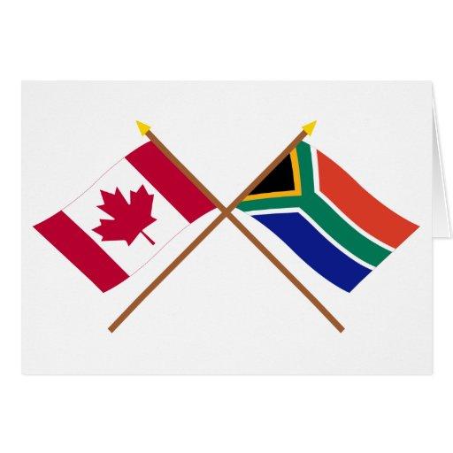 Canadá y banderas cruzadas Suráfrica Felicitación
