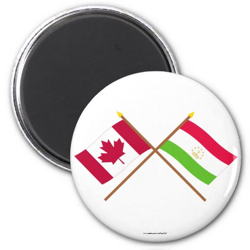 Canadá y banderas cruzadas Tayikistán Imán Redondo 5 Cm