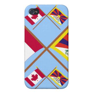 Canadá y banderas cruzadas Tíbet iPhone 4 Cárcasas