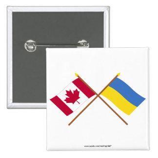 Canadá y banderas cruzadas Ucrania Pin