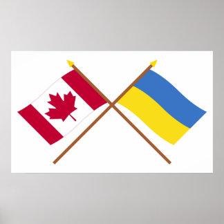 Canadá y banderas cruzadas Ucrania Póster