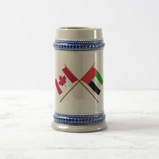 Canadá y banderas cruzadas United Arab Emirates Jarra De Cerveza
