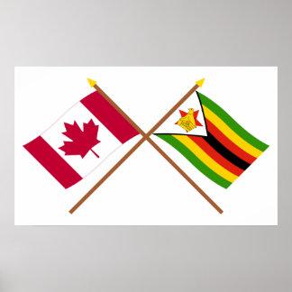 Canadá y banderas cruzadas Zimbabwe Póster