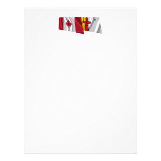 Canadá y banderas que agitan de Nunavut Membretes Personalizados