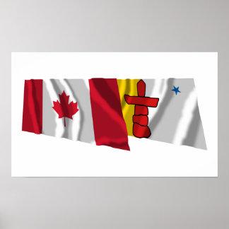 Canadá y banderas que agitan de Nunavut Posters