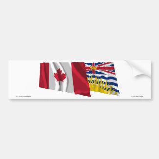 Canadá y Columbia Británica que agitan banderas Pegatina Para Auto
