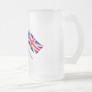 Canadá y las banderas cruzadas Reino Unido Taza De Cristal