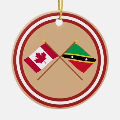 Canadá y St San Cristobal y banderas cruzadas Nevi Ornamento De Reyes Magos