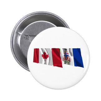 Canada & Yukon Territory Waving Flags 2 Inch Round Button