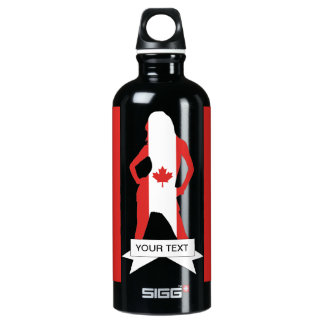 Canadain flag and girl aluminum water bottle