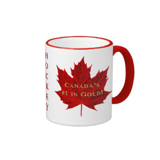 Canada's #1 in GOLD-Gold Letters/Red Maple Leaf Ringer Coffee Mug
