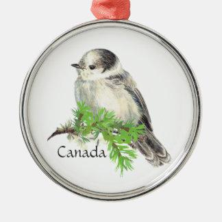 Canada's National Bird Gray Grey Jay, Whiskey Jack Metal Ornament
