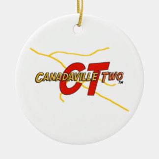 Canadaville dos adorno navideño redondo de cerámica