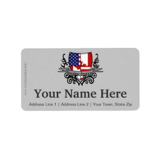 Canadian-American Shield Flag Address Label