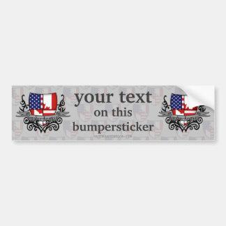 Canadian-American Shield Flag Bumper Sticker