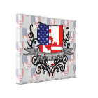 Canadian-American Shield Flag Canvas Print