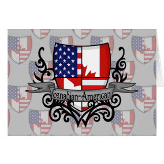 Canadian-American Shield Flag Greeting Card