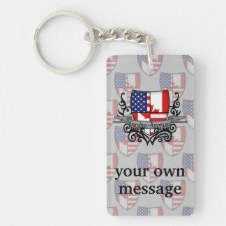 Canadian-American Shield Flag Keychain