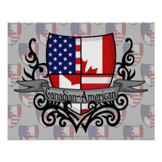 Canadian-American Shield Flag Poster