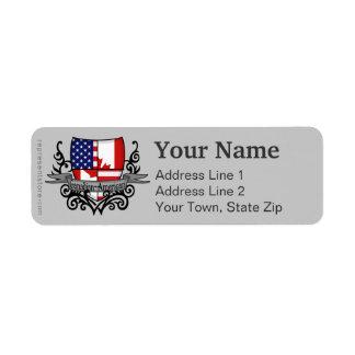 Canadian-American Shield Flag Return Address Label