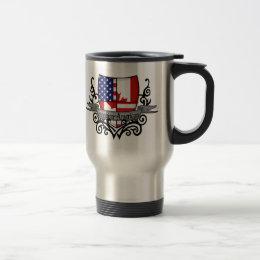 Canadian-American Shield Flag Travel Mug